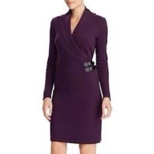 PURPLE CHAPS Buckle -Trimmed Cotton Wrap Dress🦋